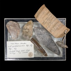 A collection of Orcadian flint artefact displayed by J. W. Cursiter at the 1911 Scottish Exhibition. Image: Hugo Anderson-Whymark. Reproduced by kind permission of Glasgow Museums