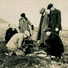 Excavation of a cist at Blows, Deerness by Dr Marwick in the 1920s. Image: Tom Kent. © Orkney Museum